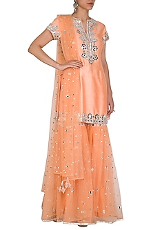 Peach Embroidered Gharara Set by Preeti S Kapoor