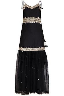 Black Embroidered Gharara Set by Preeti S Kapoor