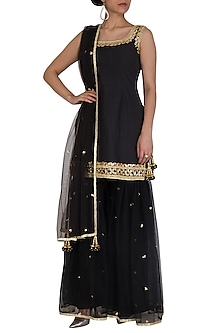 Black Gota Embroidered Gharara Set by Preeti S Kapoor