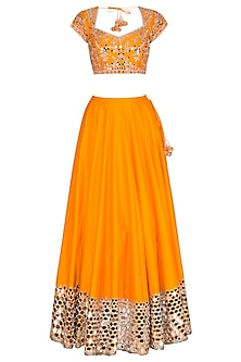 Orange Embroidered Lehenga Set by Preeti S Kapoor