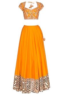 Orange Embroidered Lehenga Set by Preeti S Kapoor