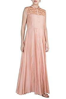 Apricot Hand Embroidered Gown by Pinnacle By Shruti Sancheti