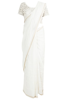 Ecru Embroidered Saree Set by Pinnacle By Shruti Sancheti