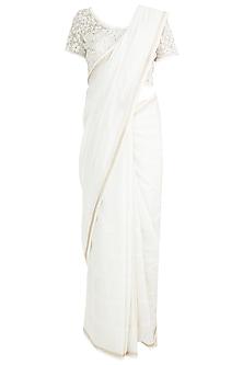 Ecru Embroidered Saree Set by Pinnacle By Shruti Sancheti
