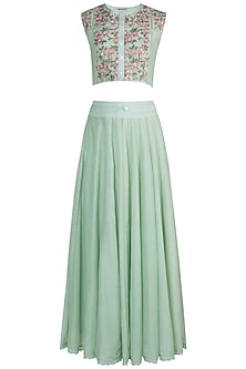 Mint Green Embroidered Lehenga Set by Pinnacle By Shruti Sancheti