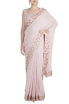Pink Embroidered Saree Set by Pinnacle By Shruti Sancheti