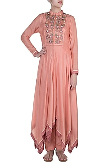 Apricot Embroidered Kurta With Pants by Pinnacle By Shruti Sancheti