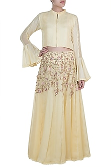 Yellow Crop Top With Embroidered Skirt by Pinnacle By Shruti Sancheti