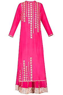 Pink embroidered sharara pants set