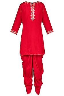 Red kurta with dhoti pants set by Priyanka Singh
