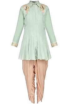 Pista green kurta with beige dhoti pants set