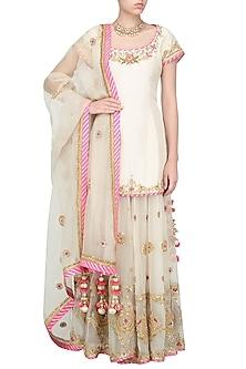 Off White and Pink Embroidered Sharara Set by Priyanka Singh