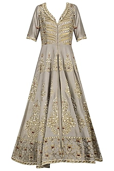Grey Embroidered Anarkali Jacket and Lehenga Set by Priyanka Singh