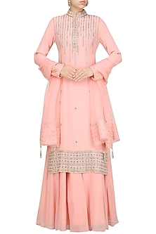 Pink Straight Embroidered Kurta and Lehenga Set by Priyanka Singh