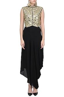 Black Mirror Work Short Jacket and Drape Skirt by Priyanka Singh
