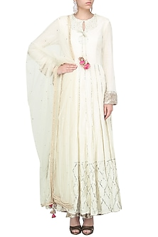 Off White Double Layer Anarkali Set by Priyanka Singh