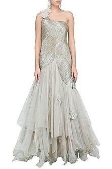 Grey Fully Embellsihed Flared Gown by Priyanka Singh