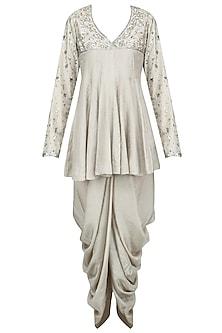 Grey Embroidered Peplum Tunic with Dhoti Pants by Priyanka Singh
