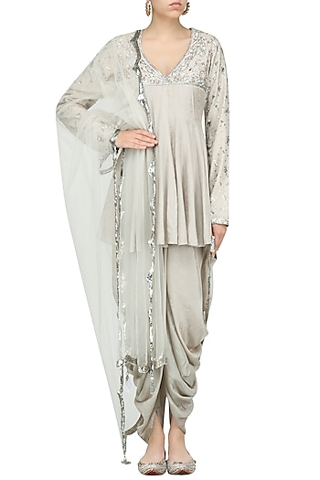 Grey Embroidered Peplum Tunic with Dhoti Pants by Priyanka Singh