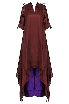 Wine Asymmetrical Kurta with Purple Palazzo Pants