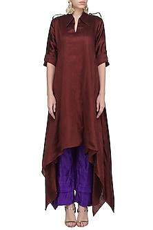 Wine Asymmetrical Kurta with Purple Palazzo Pants by Priyanka Singh