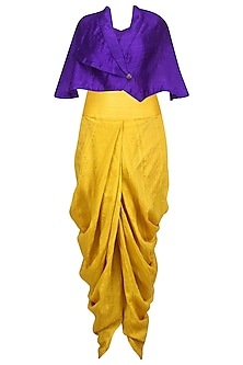 Purple Wrapped Cape with Mustard Dhoti Pants