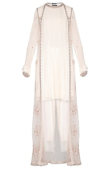 Off White Kurta With Pants & Embroidered Cape by Priyanka Singh