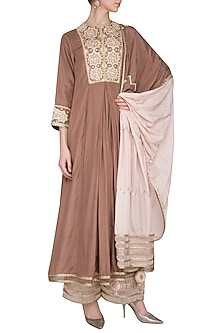 Chocolate Brown Embroidered Kurta Set by Priyanka Singh