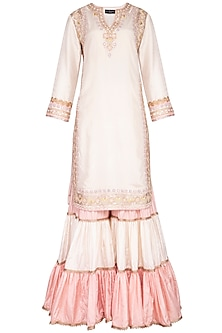 Off White Embroidered Gharara Set by Priyanka Singh