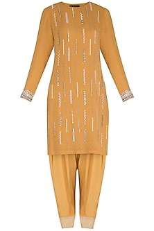 Mustard Embroidered Kurta Set by Priyanka Singh