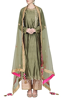 Olive Green Embroidered Kurta Set by Priyanka Singh