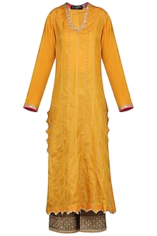 Mustard and Olive Green Embroidered Kurta Set