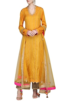 Mustard and Olive Green Embroidered Kurta Set by Priyanka Singh