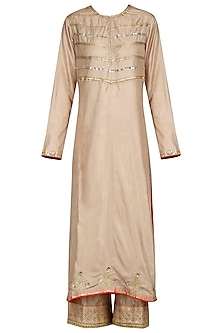 Beige Resham Embroidered Kurta Set