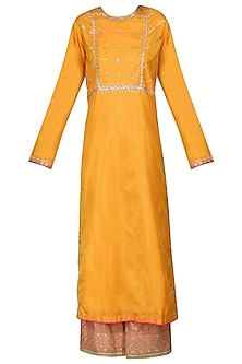 Mustard Sequins and Resham Embroidered Kurta Set