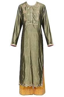 Olive Green and Mustard Embroidered Kurta Set