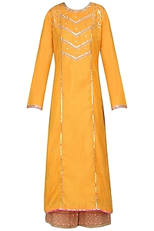 Mustard and Dark Bronze Embroidered Kurta Set