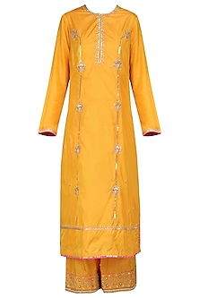 Mustard Dori and Resham Embroidered Kurta Set