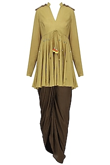 Mustard Sequins Embroidered Peplum Top with Dhoti Set