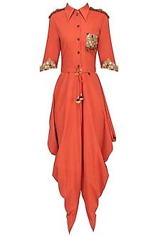 Orange Cowl Drape Jumpsuit by Priyanka Singh
