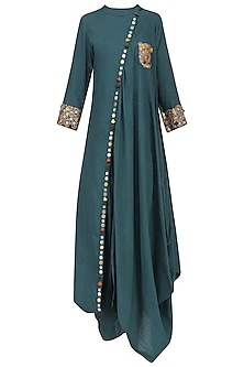 Blue Embroidered Drape Tunic by Priyanka Singh