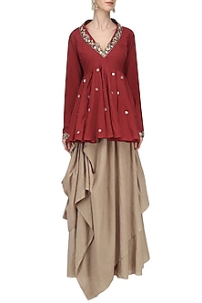 Red Embroidered Peplum with Brown Drape Skirt Set by Priyanka Singh
