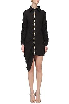 Black Embroidered Shirt Dress by Priyanka Singh