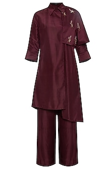 Maroon trench coat with pants