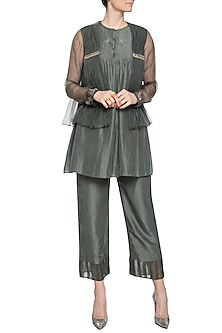 Olive jacket with pants and inner by PRIYANKA SINGH