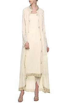 Off White Embroidered Tunic Set by Priyanka Singh