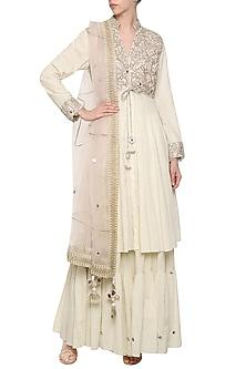 Off White Embroidered Lehenga Set by Priyanka Singh