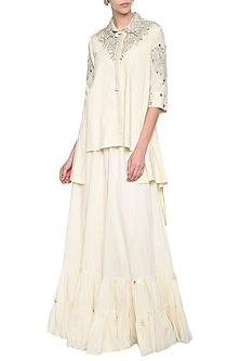 Off White Embroidered High Low Shirt with Frill Crush Skirt by Priyanka Singh