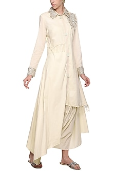 Off White Embroidered Aysmmetrical Tunic Set by Priyanka Singh