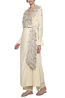 Off White Asymmetrical Flap Over Embroidered Jacket with Wide Leg Pants by Priyanka Singh